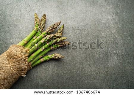 Asparagus. Fresh Asparagus. Green Asparagus. Bunches of green asparagus, top view- Image #1367406674