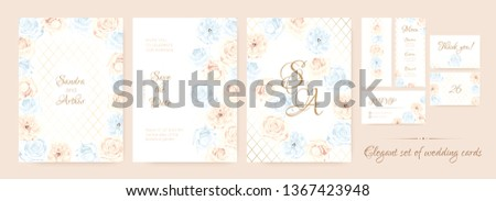 Wedding Invitation Collection in Pastel Colors Design. Vector Floral Background in Watercolor Style. Vintage Roses, Elegant Wedding Card Template. Wreath of Flowers Bouquet, Rustic Wedding Decoration. #1367423948