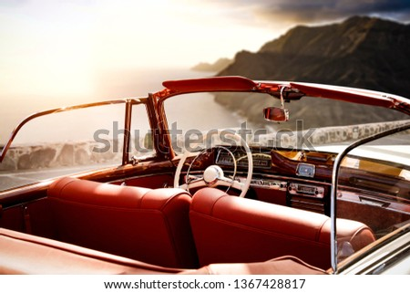 Summer car on road and summer landscape with sunset . Free space for your decoration.  #1367428817