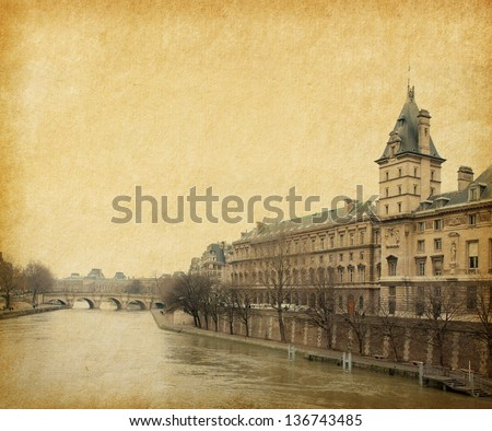 The Seine near the Pont Neuf,  Paris, France. Photo in retro style. Paper texture.
