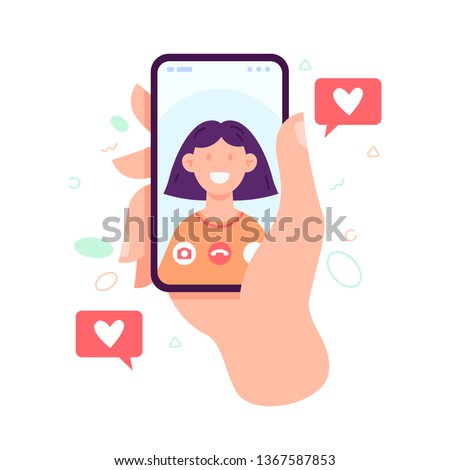 Video call concept. Video call with loved one. Male hand holding smartphone with girlfriend on screen. Finger touch screen. Vector flat cartoon illustration for web sites and banners design