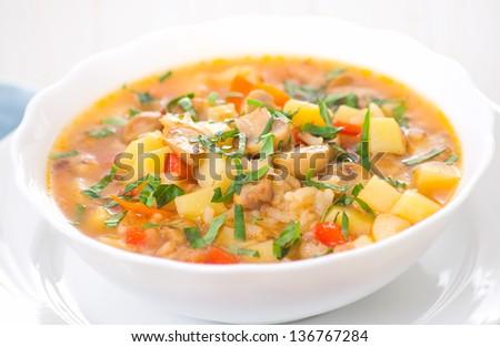mushroom soup with potato and rice #136767284