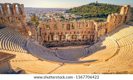 Theatre of Dionysus below the Acropolis in Athens, Greece is considered to be the worlds first theater aka Odeon of Herodes Atticus #1367706422
