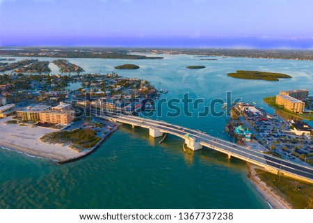 Aerial View of Johns Pass Village and Boardwalk at Madeira Beach, Florida. #1367737238