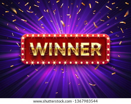 Winner banner. Win congratulations vintage frame, golden congratulating framed sign with gold confetti. Winners lottery game jackpot prize logo vector background illustration #1367983544