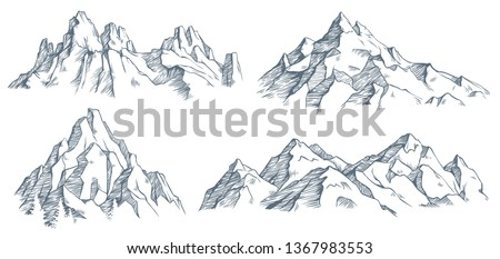 Mountains peak engraving. Vintage engraved sketch of valley with mountain landscape and old forest trees. Mountaineering engraving or mountains sketch. Isolated vector illustration symbols set #1367983553