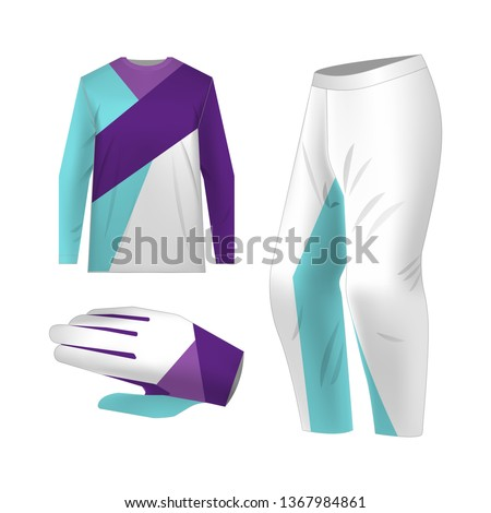 Blank motocross kit mock up. Isolated design templates. Long sleeve jersey, trousers and glove. Total look uniform design. Layout for own team wearing. #1367984861