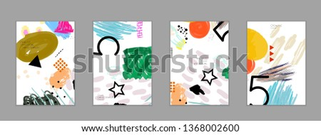 Abstract universal art web header template. Collage made with scribbles, marker, canyon strokes, black geometric shapes, ink drawn splashes. Bright colored isolated on white background cover template. #1368002600