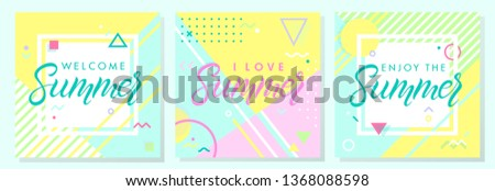 Set of summer creative cards in memphis style.Abstract design templates perfect for prints,flyers,banners,invitations,covers,social media and more.Welcome summer,i love summer,enjoy the summer #1368088598