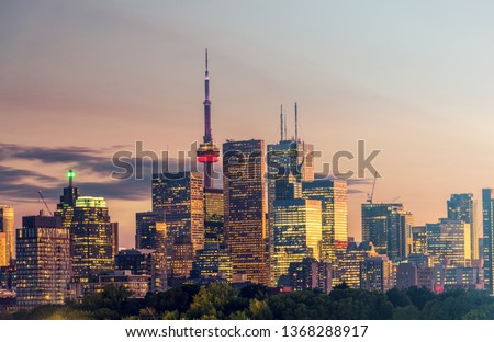 Buildings in the Toronto city at night, Ontario, Canada