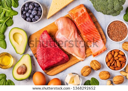 Ketogenic diet concept. Balanced low carb, high good fat , healthy food. #1368292652