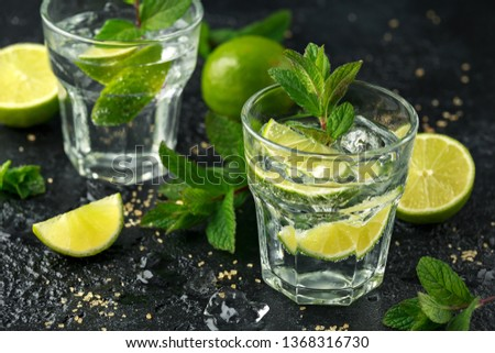 Mojito cocktail with Rum, lime and mint in glass. Summer cold drink with ice #1368316730