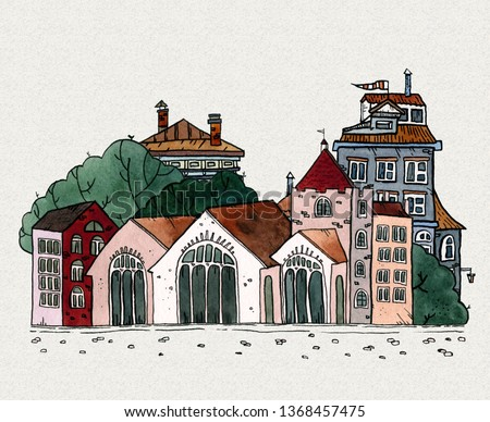 Cityscape old town hand drawn watercolor illustration. Old city landscape with tower, houses, trees. Grunge ink line sketch for vintage tourist card, poster, postcard, flyer, banner. Small town view.
