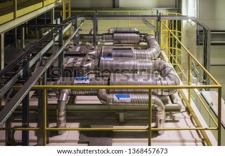 industrial air cooling system and ventilation pipes #1368457673