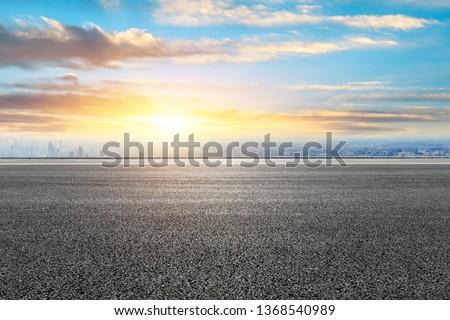 Shanghai city skyline and empty asphalt road ground scenery at sunrise #1368540989