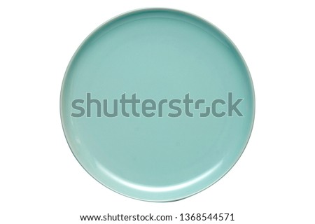 Empty ceramics plates, Classic blue plate, View from above isolated on white background with clipping path                                   #1368544571