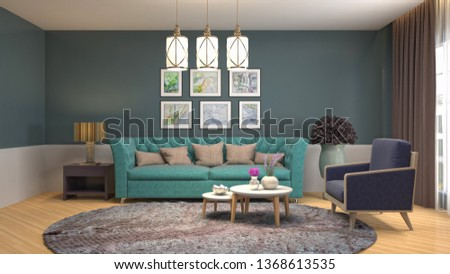 Interior of the living room. 3D illustration #1368613535