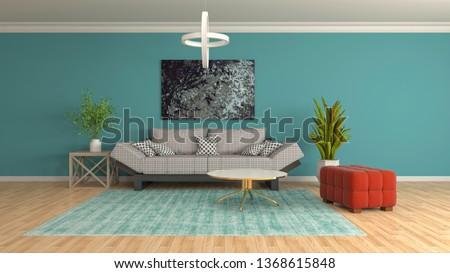 Interior of the living room. 3D illustration #1368615848