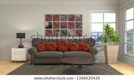 Interior of the living room. 3D illustration #1368620426