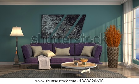 Interior of the living room. 3D illustration #1368620600