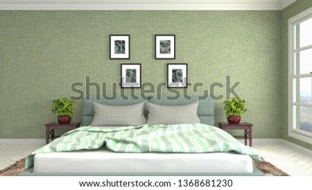 Bedroom interior. 3d illustration #1368681230