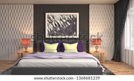 Bedroom interior. 3d illustration #1368681239