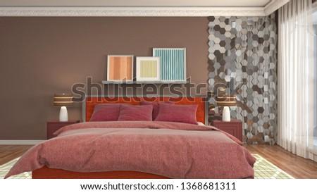 Bedroom interior. 3d illustration #1368681311