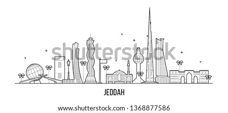 Jeddah skyline, Saudi Arabia. This illustration represents the city with its most notable buildings. Vector is fully editable, every object is holistic and movable #1368877586