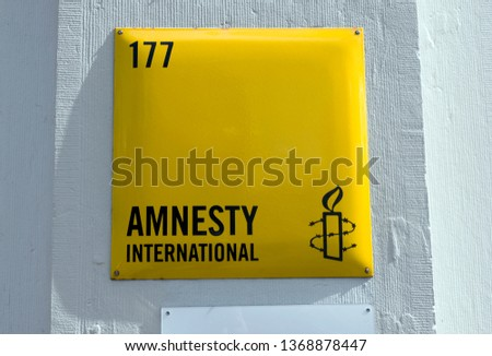 Amsterdam, Netherlands 12 april 2019; Sign of Amnesty international in Amsterdam in the Netherlands #1368878447