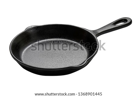 Cast iron skillet, Empty cast iron pan with handled isolated on white background with clipping path, Side view                                         #1368901445