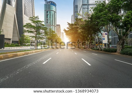 empty highway with cityscape and skyline of shenzhen,China. #1368934073