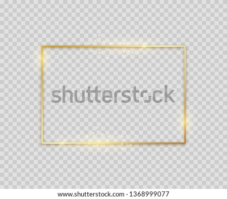 Golden square shape. Shiny luxury border graphic template for banner poster flyer. Vector glowing magic frame on light background #1368999077