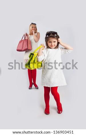 mum and girl make shopping #136903451