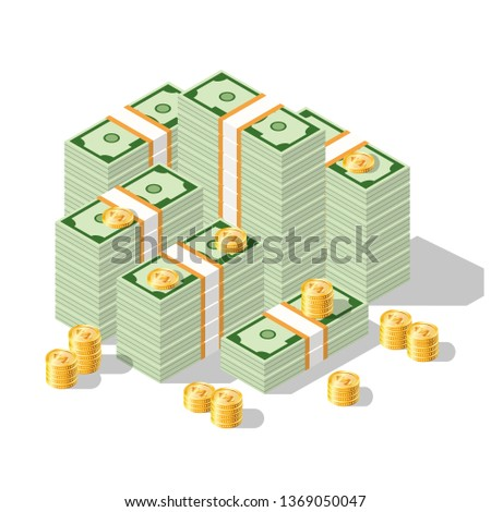 An illustration of a banknote and coin of America. Set of US dollar bills depicted in isometric. Vector graphics. Different versions of stacked bundles of bills. #1369050047