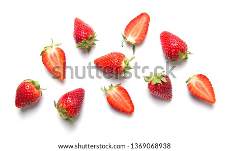 Ripe strawberries isolated on white background, berry pattern, top view #1369068938