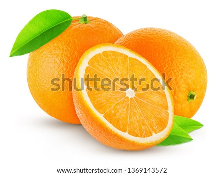 two oranges with leaf and half isolated on white background #1369143572