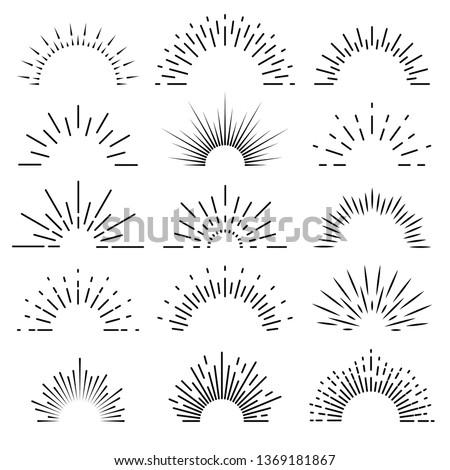 Retro sunburst. Sunrise rays light burst line shine sunshine sunbeam vintage border spark firework starburst for emblems logo and banner vector isolated set #1369181867