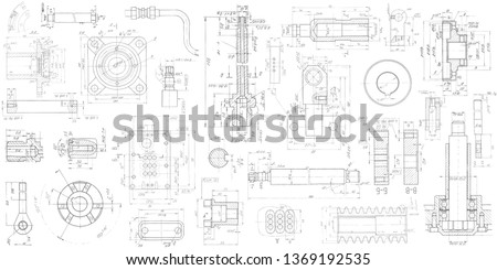 A set of engineering mechanical parts .Vector engineering illustration.Technical drawing background . Royalty-Free Stock Photo #1369192535