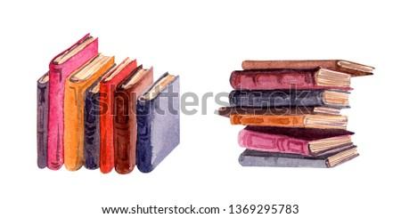 Set of books stacks. Watercolor