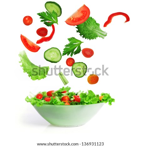 salad with lettuce and other fresh vegetable on white dish. #136931123