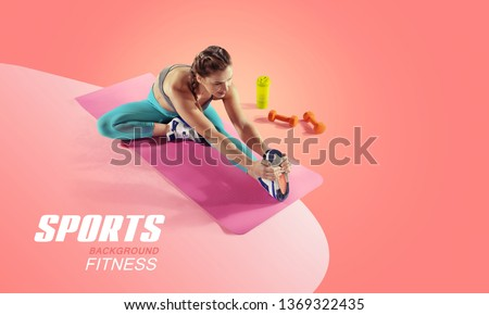 Sport and fitness backgrounds. Stretching. Isolated. #1369322435
