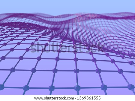 Modern abstract purple surface wave. Futuristic technology concept. Stylized Hi-Tech backdrop. Neural network. 3d render #1369361555