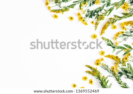 Flowers composition. Yellow flowers on white background. Spring, easter concept. Flat lay, top view, copy space #1369552469