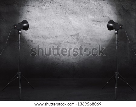photo studio in old grunge room with concrete wall, urban background #1369568069