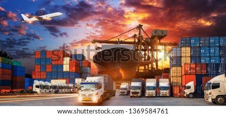 Container truck in ship port for business Logistics and transportation of Container Cargo ship and Cargo plane with working crane bridge in shipyard, logistic import export and transport  #1369584761