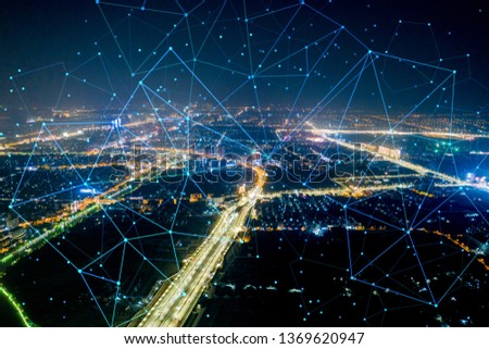 Modern city with wireless network connection concept #1369620947