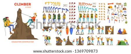Mountain climber animation set. Active and extreme lifestyle. Travel or adventure. Outdoor activity. Equipment for mountaineering. Vector illustration in cartoon style