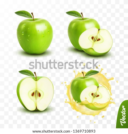 3d realistic transparent isolated vector set, whole and slice of green apple, apple in a splash of juice with drops Royalty-Free Stock Photo #1369710893