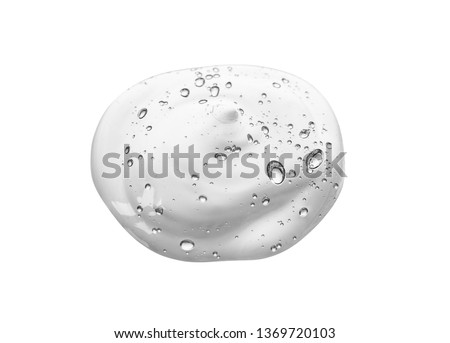 Cream gel gray blue transparent cosmetic sample texture with bubbles isolated on white background #1369720103