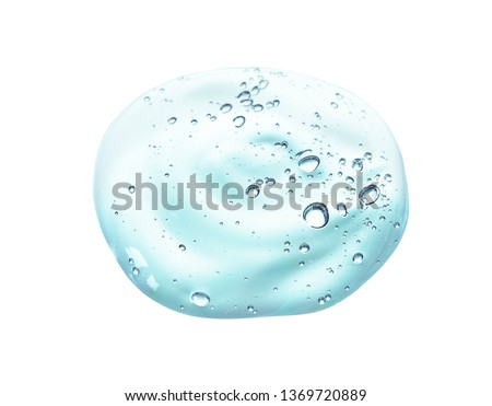 Cream gel gray blue transparent cosmetic sample texture with bubbles isolated on white background  #1369720889